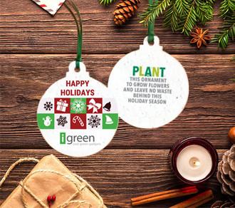 Weihnachtsschmuck aus pflanzbarem Papier